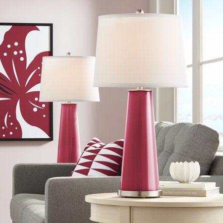 Color Plus Modern Table Lamps Set of 2 Antique Red Glass Tapered Column Plain White Drum Shade for Living Room Family Bedroom