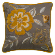 """Rizzy Home Decorative Poly Filled Throw Pillow Floral 18""""X18"""" Grey"""