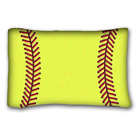 WinHome Yellow Softball Custom Pillowcase Standard Size 20x30 Inches Two Sided Print
