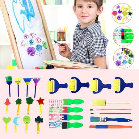 16/30Pcs Children's Painting tools Kids Graffiti Watercolor Painting Drawing Set Early Childhood Education Painting Sponge Brush Tool Kit ()