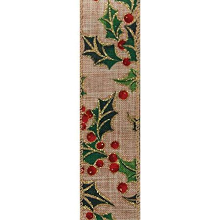 """Christmas Tree Garland Wired Ribbon - 1 1/2"""" x 10 Yards, Mistletoe Holly, Gift Wrapping, Wreath Decoration, Tree Topper Bow"""