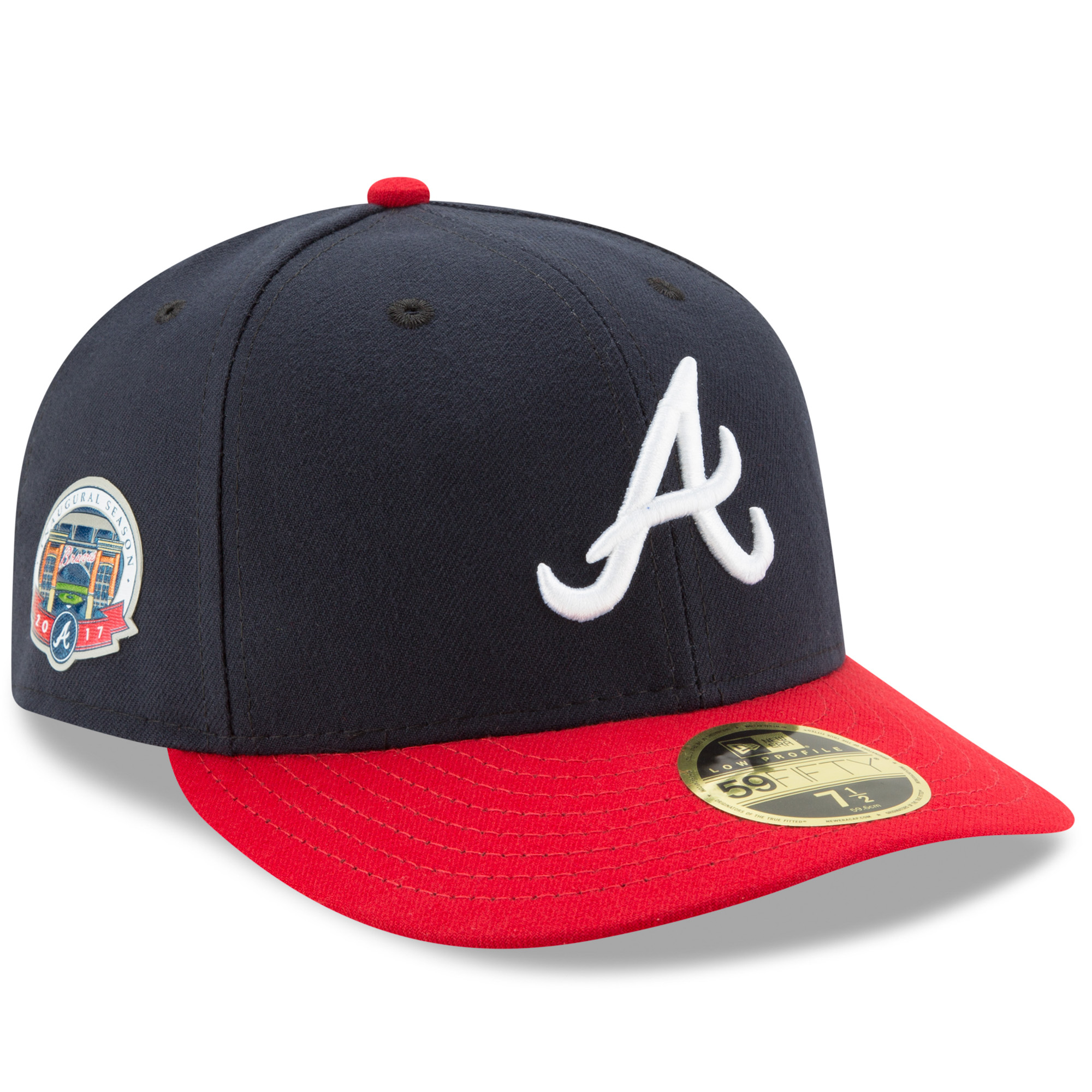 Atlanta Braves New Era SunTrust Park Inaugural Season Patch Authentic Collection On-Field Low Profile 59FIFTY Fitted Hat - Navy/Red