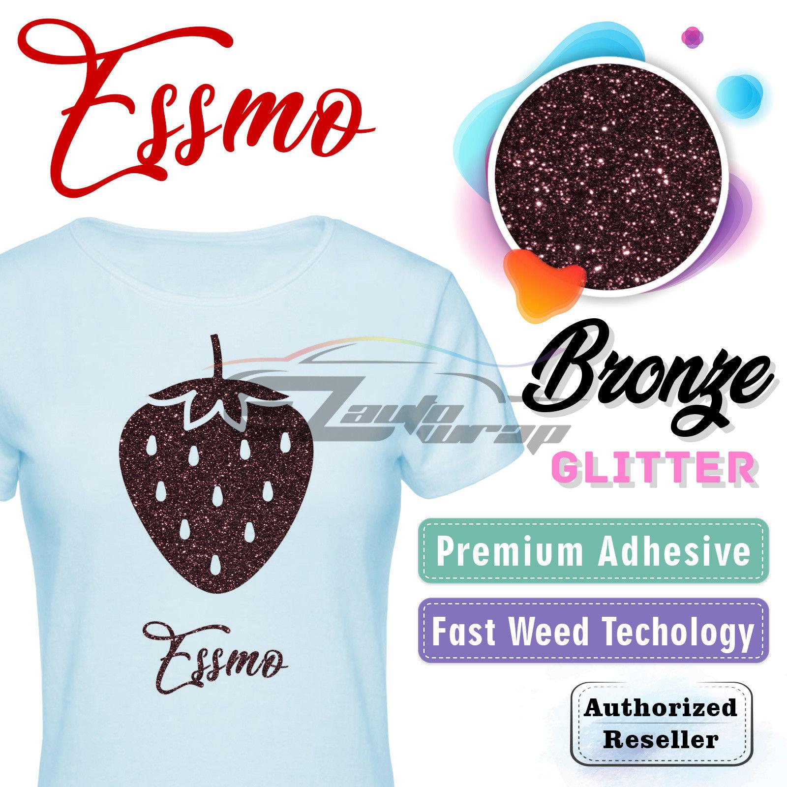 "ESSMO Bronze Glitter Heat Transfer Vinyl HTV Sheet T-Shirt 20"" Wide Iron On Heat Press 20""x12"""