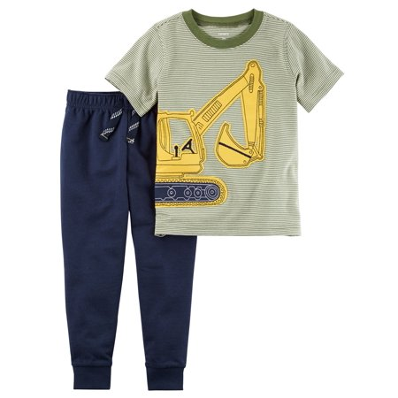 Carter's Baby Boys' 2-Piece Construction Graphic Tee & Jogger Set, 6 Months