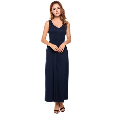 Women Casual V-Neck Sleeveless Elastic A-Line Pleated Hem Maxi Dress HFON