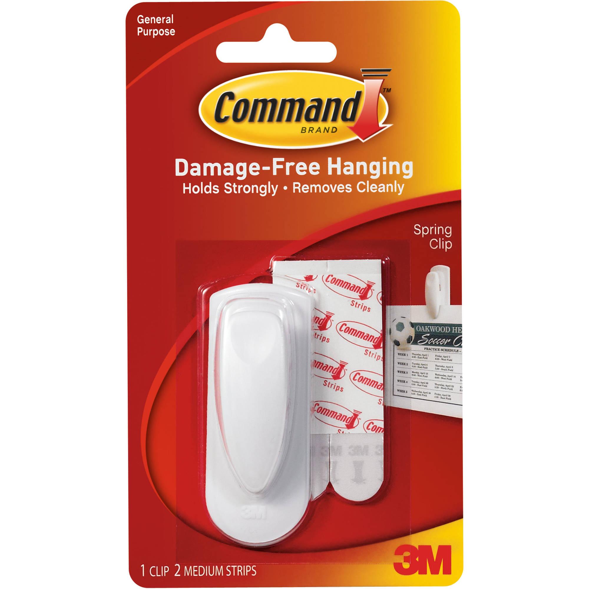 Command Spring Clip, White, 1 Clip, 2 Strips, 17005