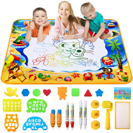 Water Drawing Mat Magic Doodle Kids Toys Color Doodle Drawing Mat Bring Magic Pens Educational Toys for Age 1 2 3 4 5 6 7 8 9 10 11 12 Year Old Girls Boys Age Toddler Gift 40