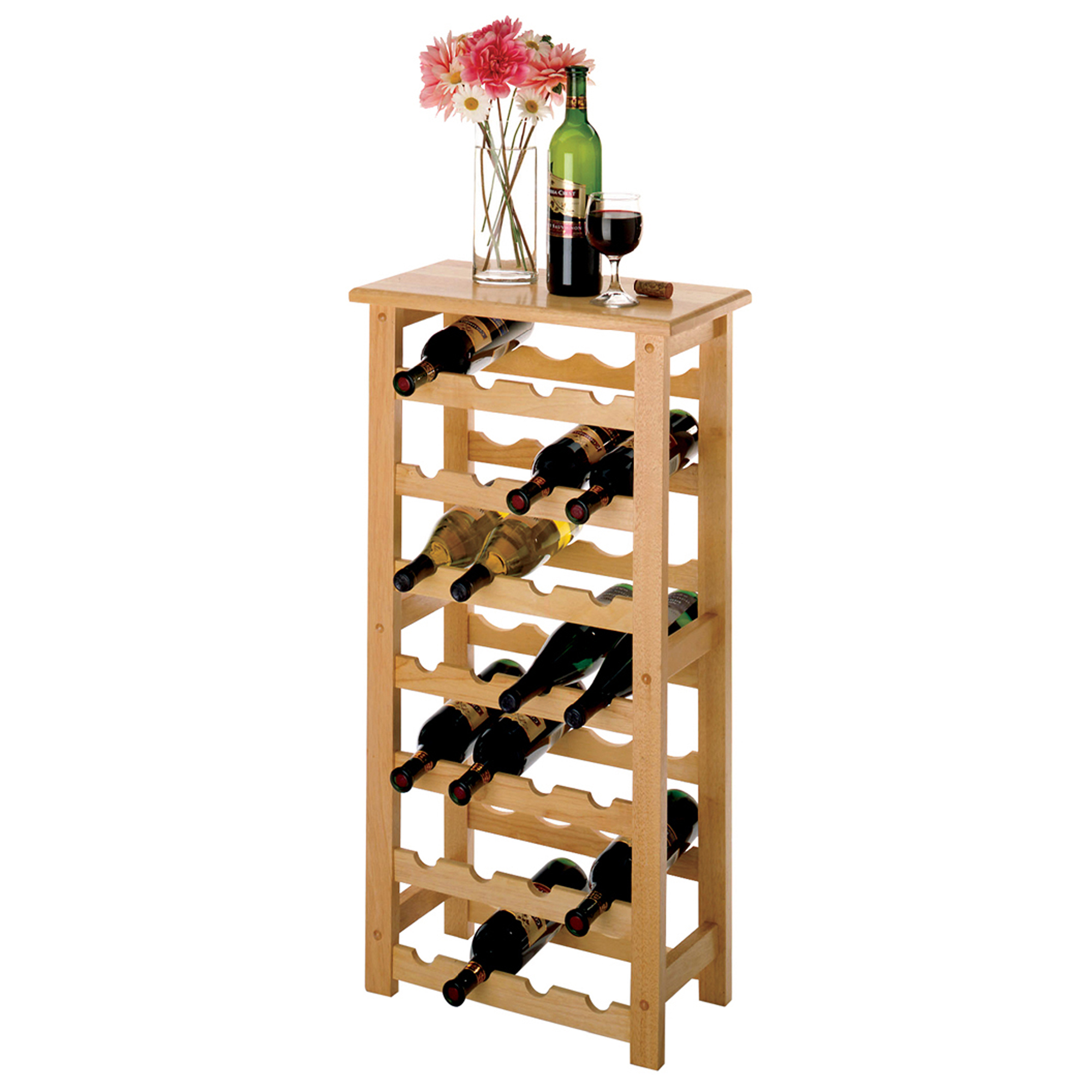 Winsome Wood Napa 28-Bottle Compact Sized Wine Rack, Natural Finish