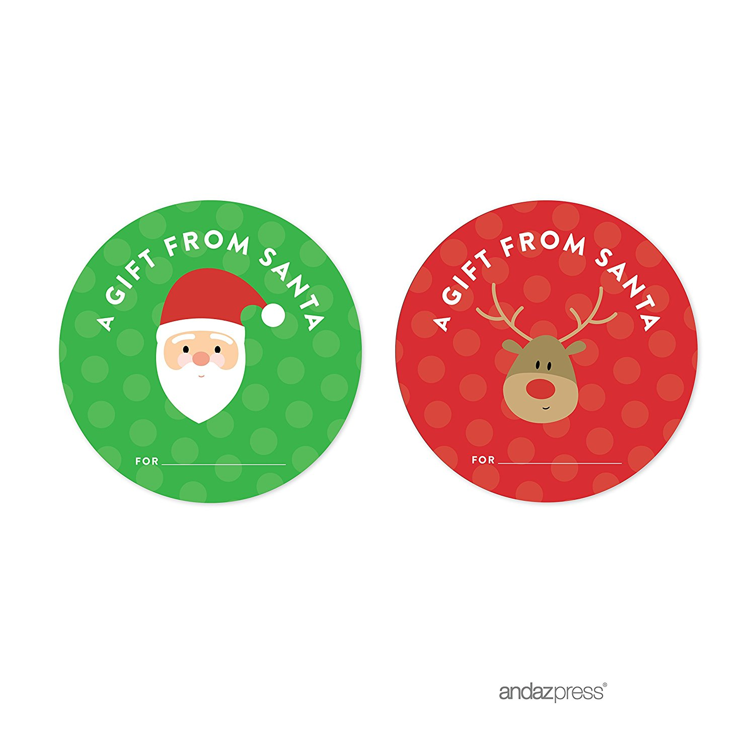 A Gift From Santa Red Christmas Round Circle Gift Label Stickers, 40-Pack