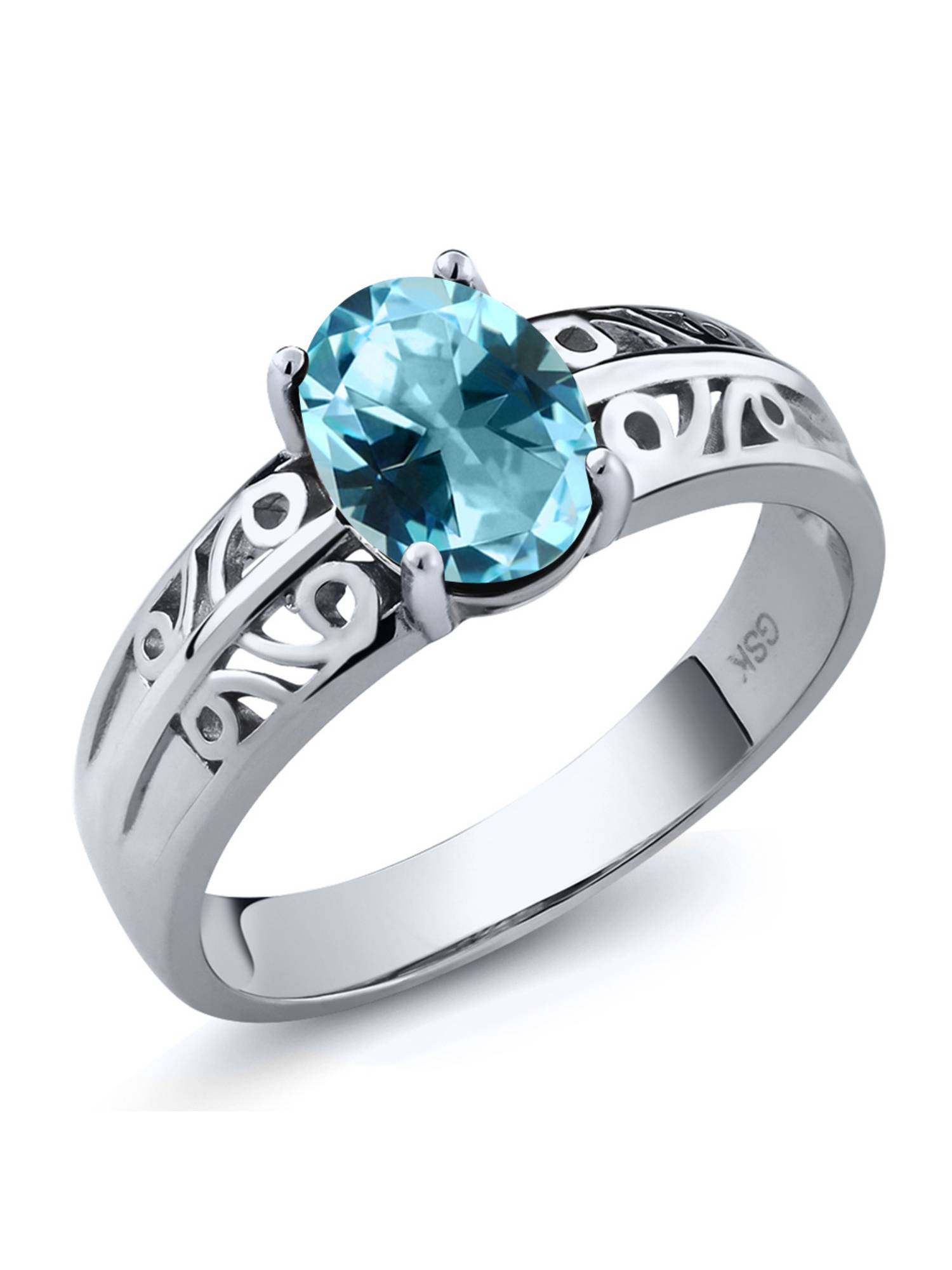 925 Sterling Silver Ring Set with Oval Ice Blue Topaz from Swarovski by