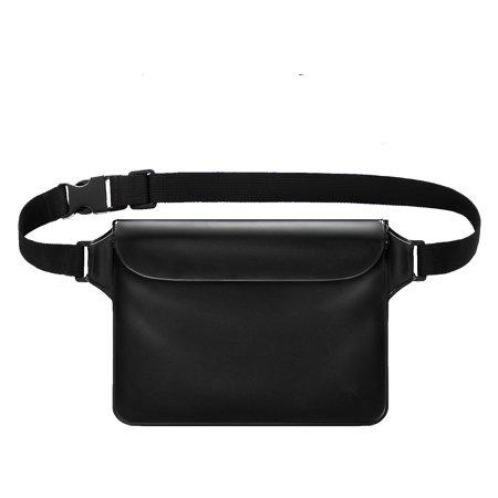 Waterproof Waist Pack - Waterproof PVC Sports Waist Pack, Transparent Dry Bag Phone Pocket Color:Black