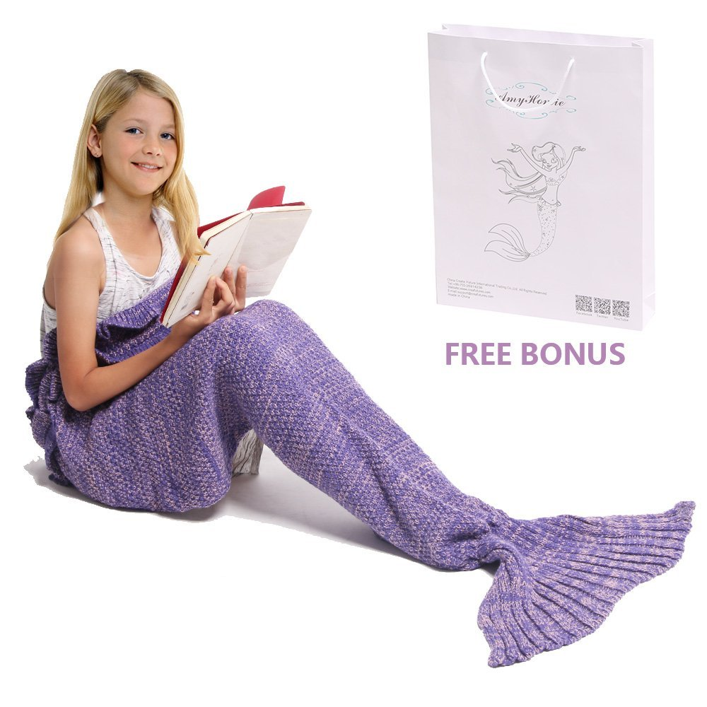 Mermaid Tail Blanket, Amyhomie Mermaid Crochet Blanket for Adult and Kids, All Season Sleeping ...