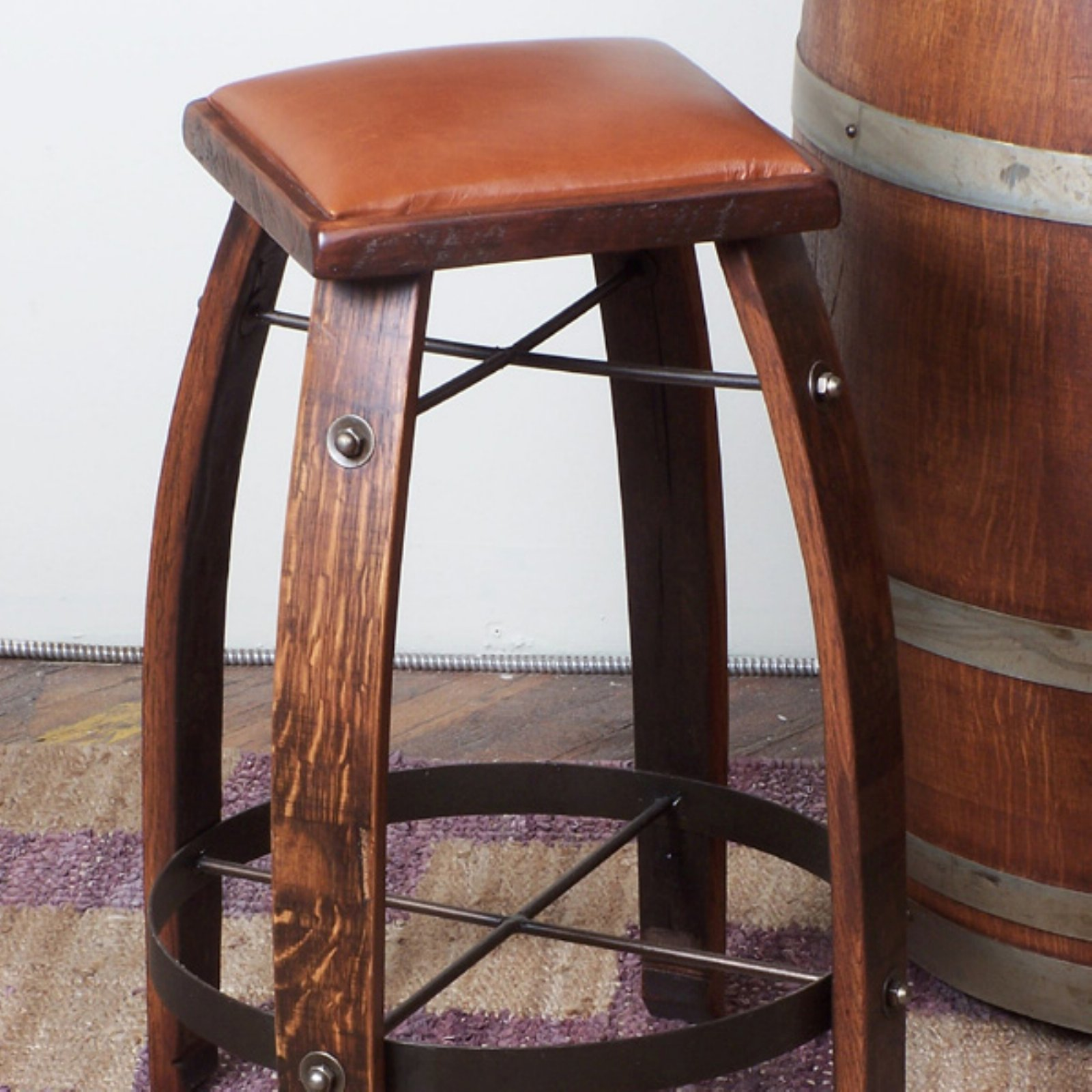 2 Day Designs Reclaimed 24 in. Stave Counter Stool with Leather Seat