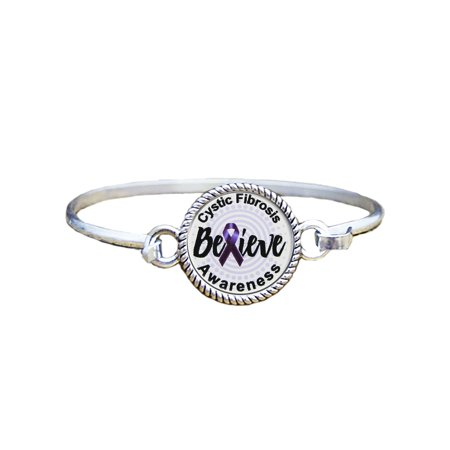 Cystic Fibrosis Awareness Believe Silver Plated Bracelet Jewelry