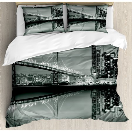 Black And White Decorations Queen Size Duvet Cover Set  San Francisco Bay Bridge Metropolis Panorama Skyscrapers  Decorative 3 Piece Bedding Set With 2 Pillow Shams  Black Grey White  By Ambesonne