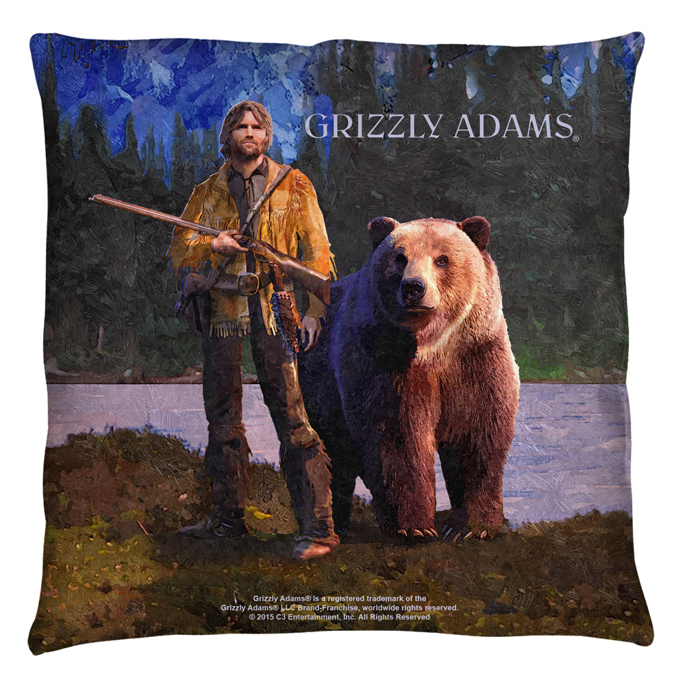Grizzly Adams Wilderness Throw Pillow White 14X14