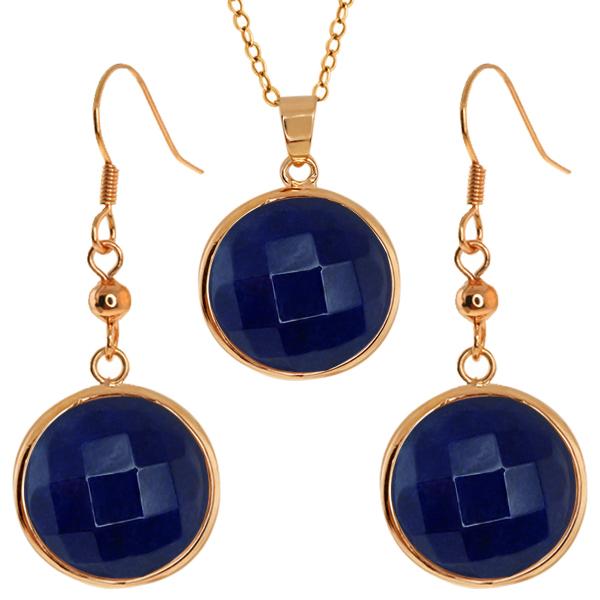 Stunning Faceted Blue Color Jadelite 16MM Round Dangle Earrings/Pendant Set