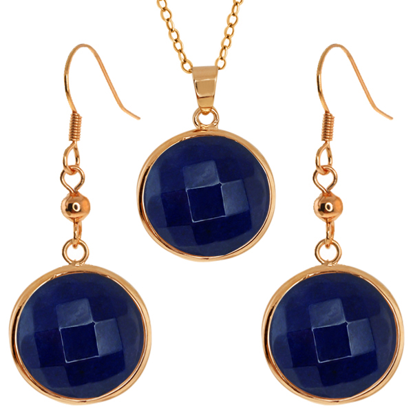 Stunning Faceted Blue Color Jadelite 16MM Round Dangle Earrings/Pendant Set
