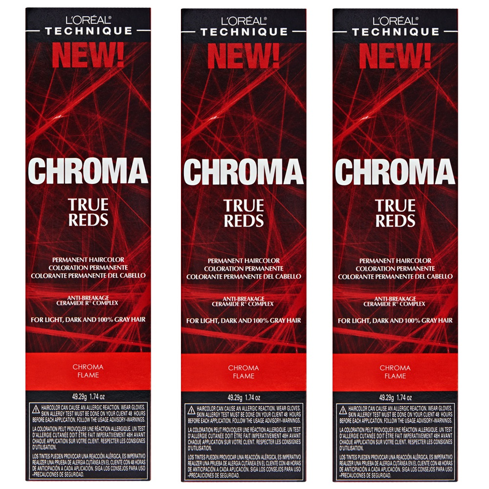 L'Oreal True Reds Chroma Flame Permanent Hair Color Tint HC-22917 (3 Pack)
