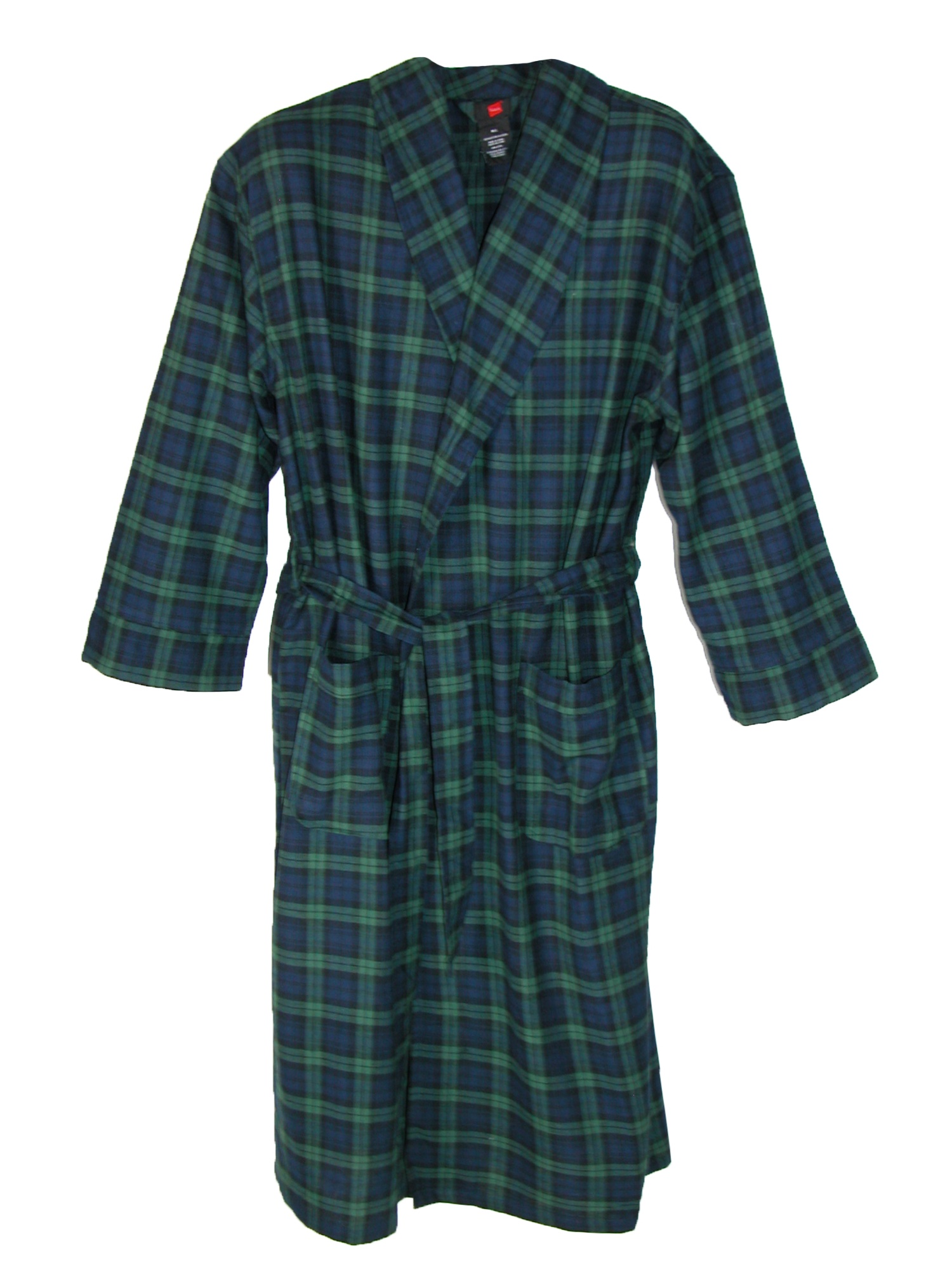 Mens Robe Premium Flannel Warm Long Bathrobe with Shawl Collar White-L