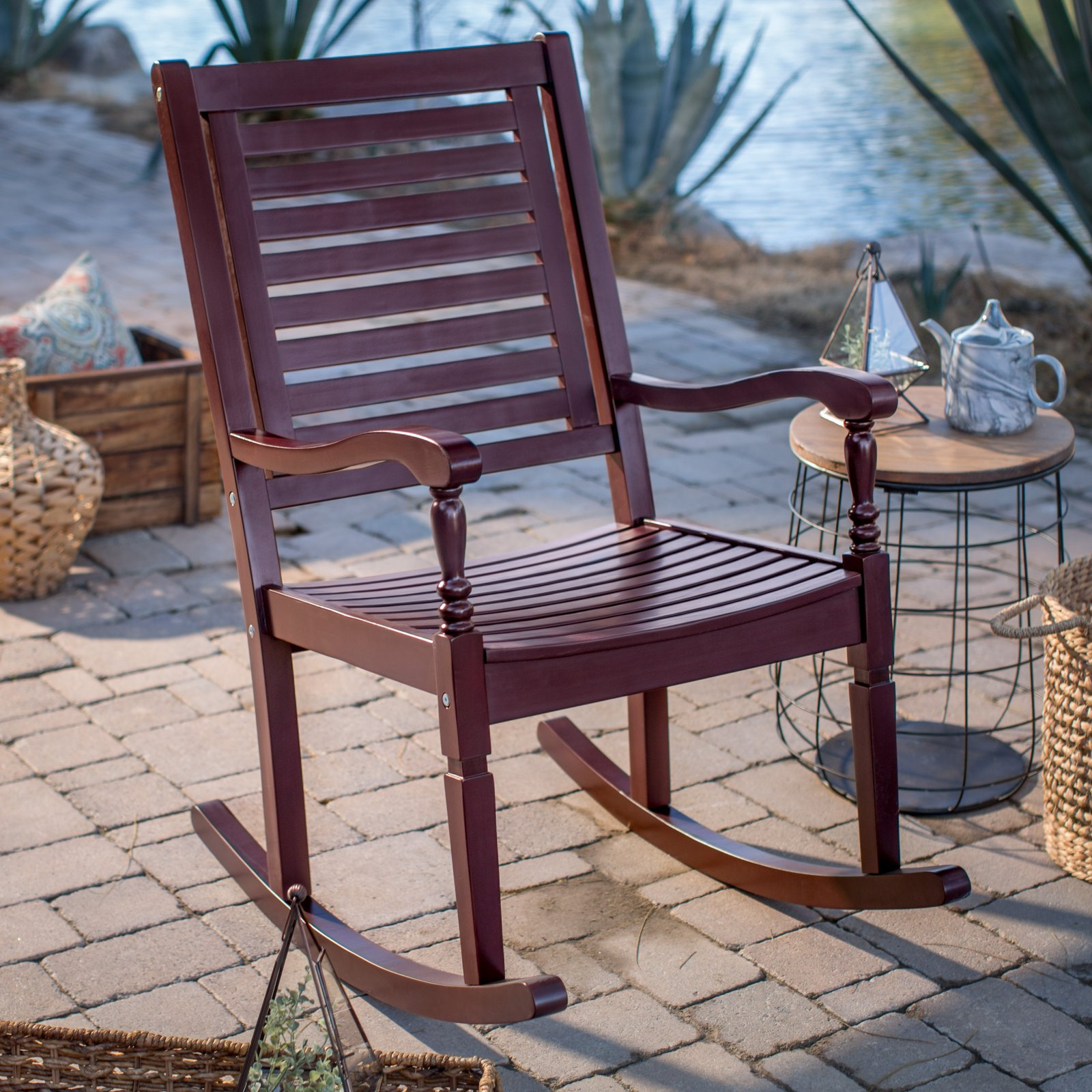Belham Living Cottonwood Indoor/Outdoor Wood Rocking Chair   Burgundy