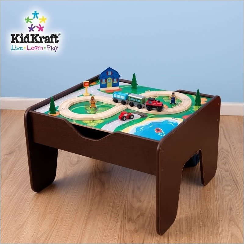 Pemberly Row 2-in-1 Activity Table with Lego and Train Set in Espresso by Pemberly Row