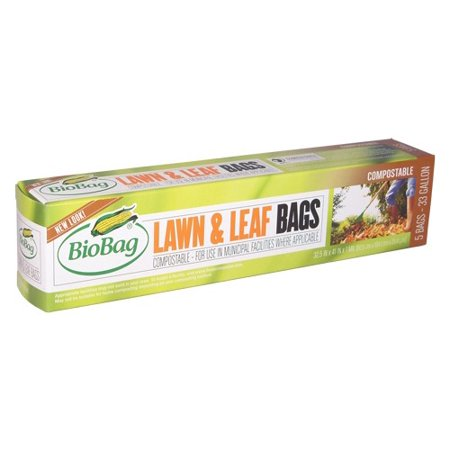 BioBag Green Compostable Lawn & Leaf Bags, 33 Gallon, 5 Ct