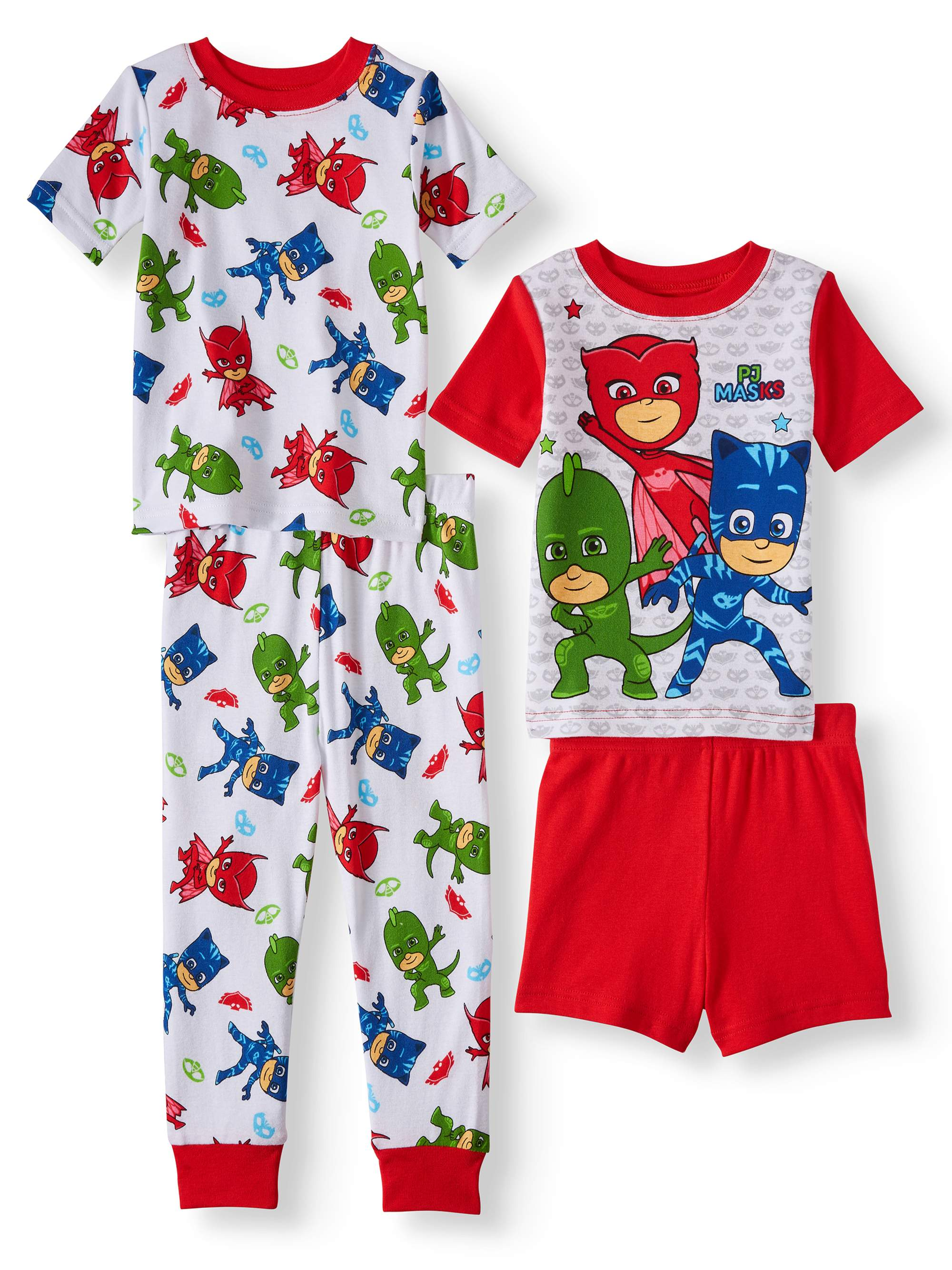Toddler Boys' Cotton Tight Fit Pajamas, 4-Piece Set