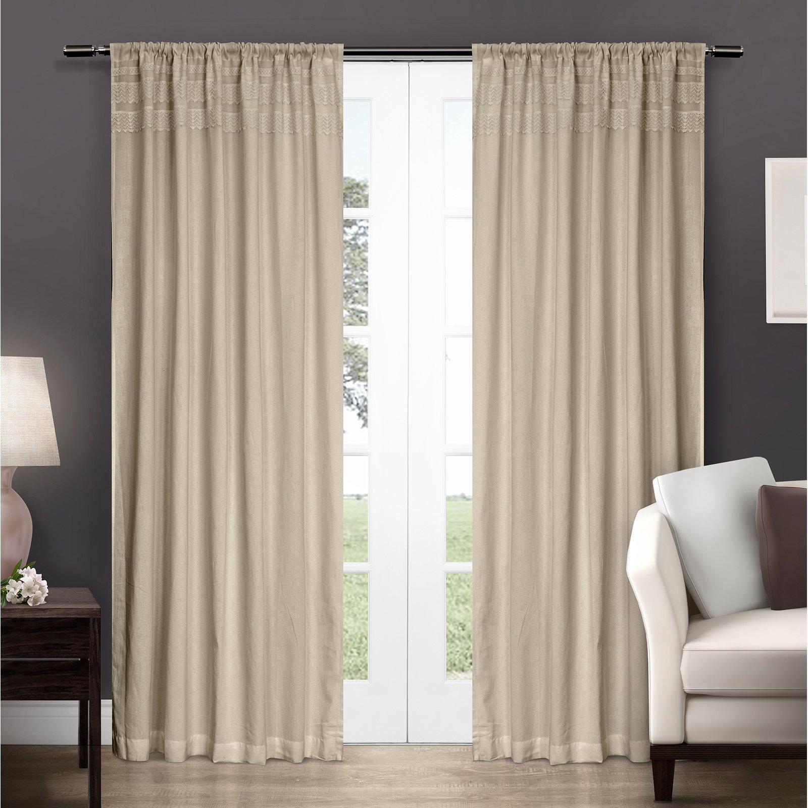 Exclusive Home Vintage Crochet Cotton Window Curtain Panel Pair With Rod Pocket Walmart Com Walmart Com