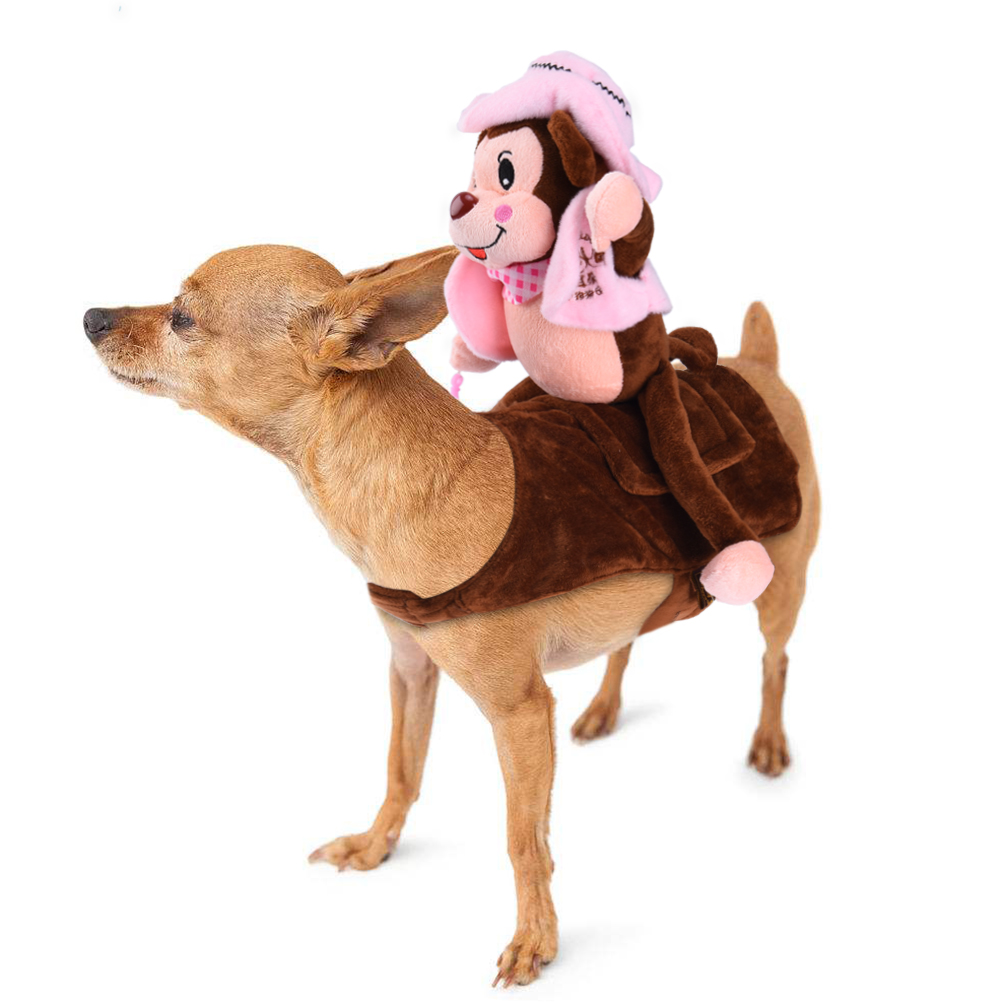 Dog Costume Adorable Pet Halloween Costume Soft Dogs Clothes with Self-adhesive Strap and Reserved Hole for Dog Leash, Monkey Rider Style, Suitable for Small and Medium-sized Dogs,Petacc