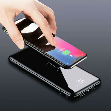 Wireless 10000mAh Power Bank 2USB LCD LED Portable Phone Fast Charger Mirror Surface Lightning Micro USB Input For iPhone