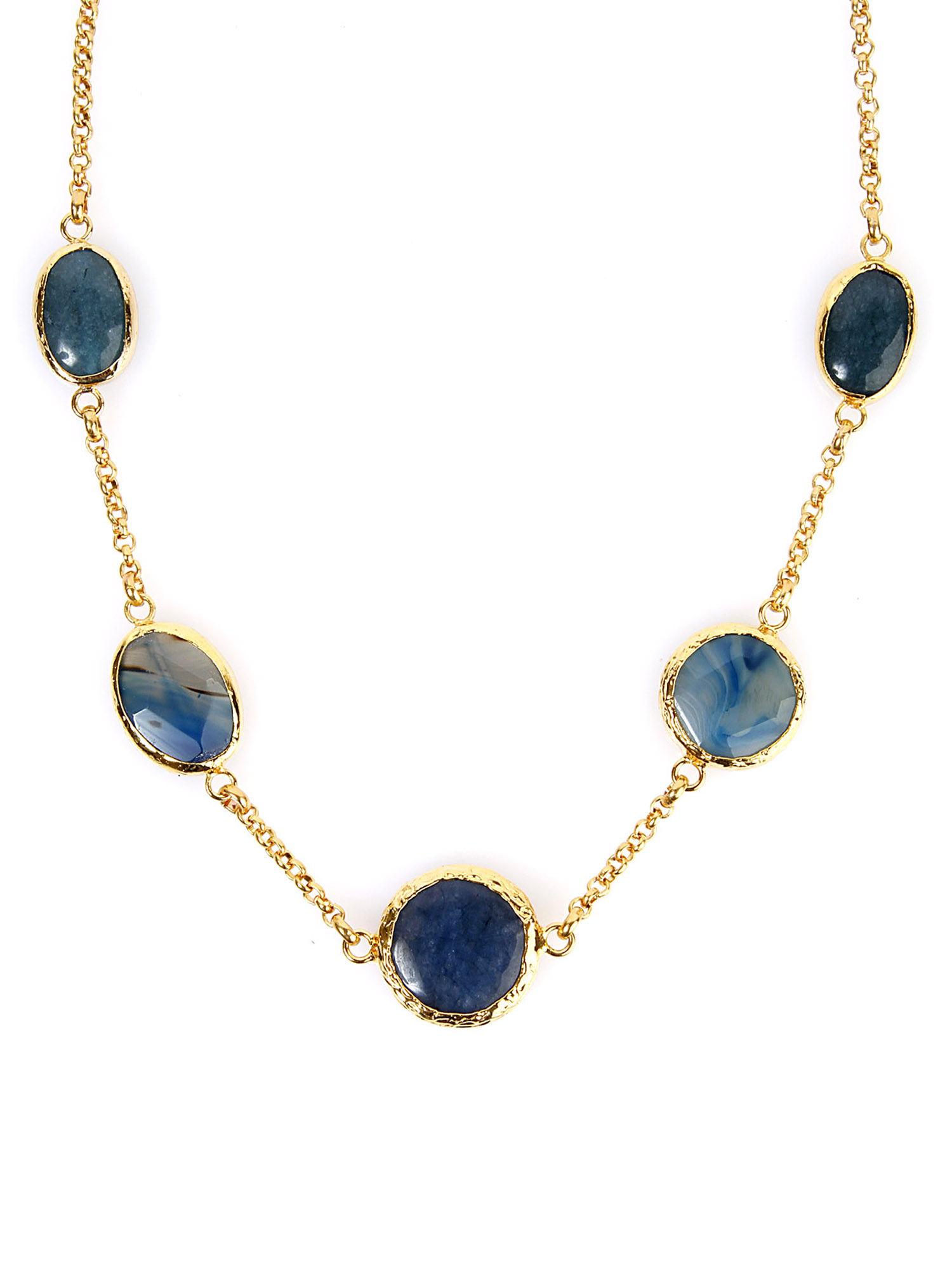 ELYA Gold Plated Green and Blue Dyed Chalcedony Necklace by West Coast Jewelry