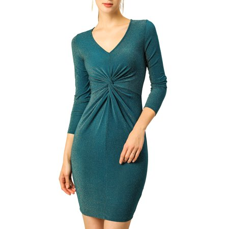 Women's Twist Front V Neck Long Sleeve Slim Glitter Dress L Green Long Sleeve Knot Front Dress
