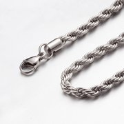 """2mm - 6mm 16""""-40"""" Silver or Gold or Black or Silver and Black Stainless Steel Rope Chain Necklace"""