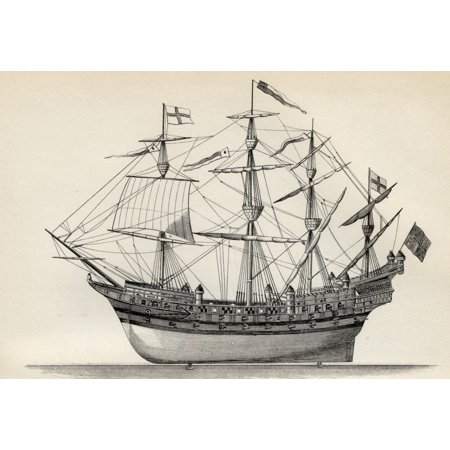 Harry London Chocolates - Henri Grace A Dieu Or The Great Harry English Warship Built 1514 From The National Encyclopaedia Published By William Mackenzie London Late 19Th Century PosterPrint