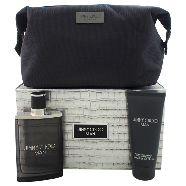 Jimmy Choo Man by Jimmy Choo for Men - 3 Pc Gift Set 3.3oz EDT Spray, 3.3oz After Shave Balm, Travel Pouch