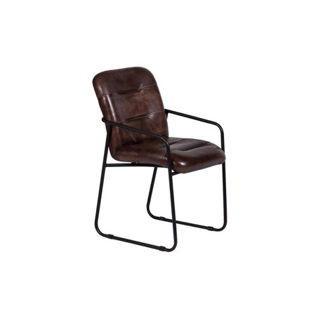 Alger Cognac Leather & Metal Dining Chair