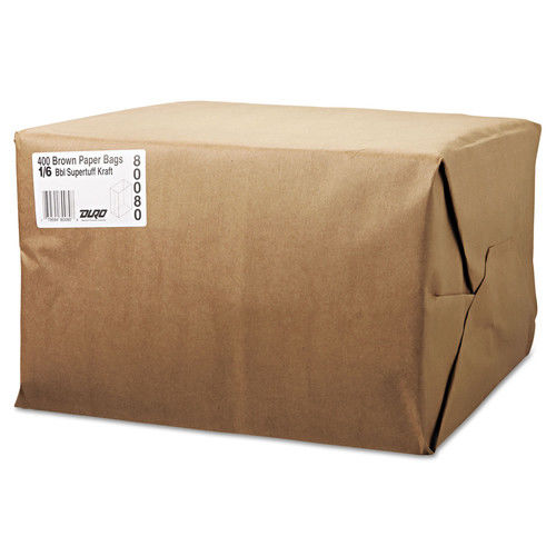 General 1/6 BBL Paper Grocery Bag, 75lb Kraft, Standard 12 x 7 x 17, 400 bags