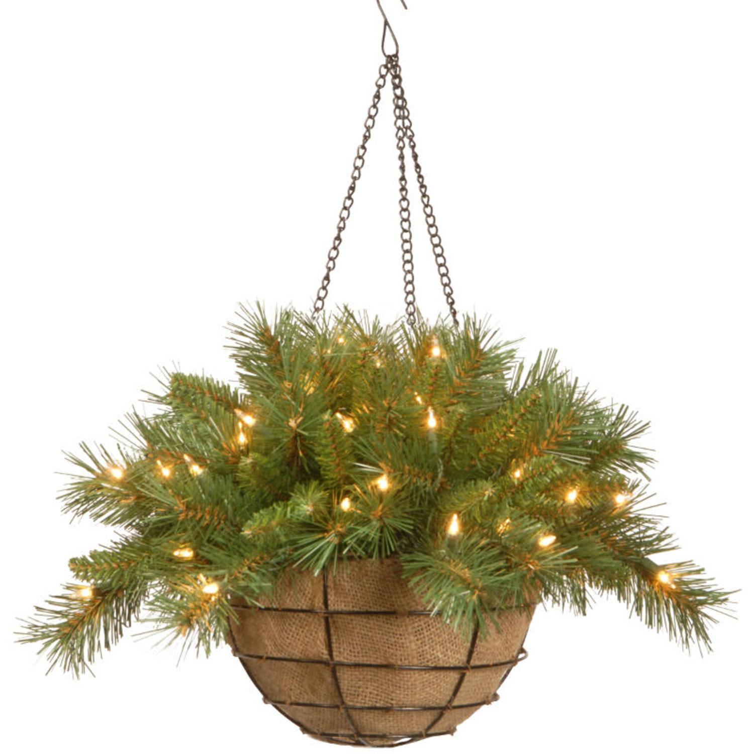 Christmas Hanging Baskets With Lights.20 Pre Lit Battery Operated Tiffany Fir Artificial Christmas Hanging Basket Warm White Led Lights