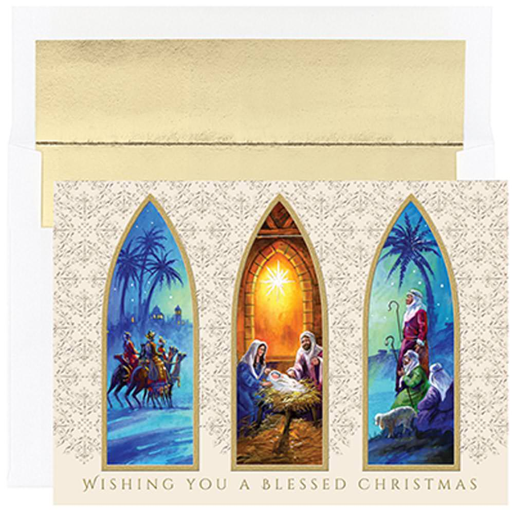 JAM Paper Christmas Card Sets, Christmas Triptych Card Pack, 16/pack