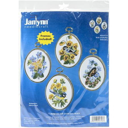 Birds & Butterflies Embroidery Kit Set Of 4-3.25