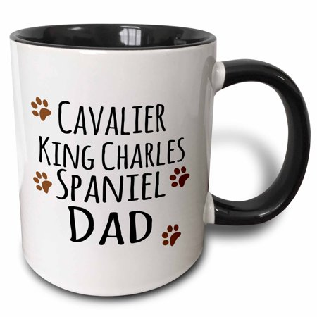Spaniel Dvd (3dRose Cavalier King Charles Spaniel Dog Dad - Doggie by breed - brown muddy paw prints - doggy lover owner - Two Tone Black Mug, 11-ounce )