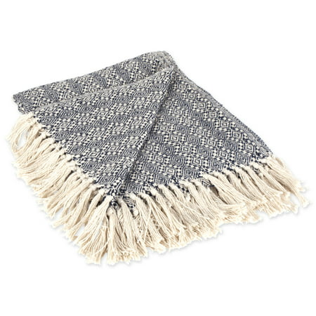 "DII Rustic Farmhouse Cotton Diamond Patterned Blanket Throw with Fringe For Chair, Couch, Picnic, Camping, Beach, & Everyday Use , 50 x 60"" - Navy Diamond Stitch"