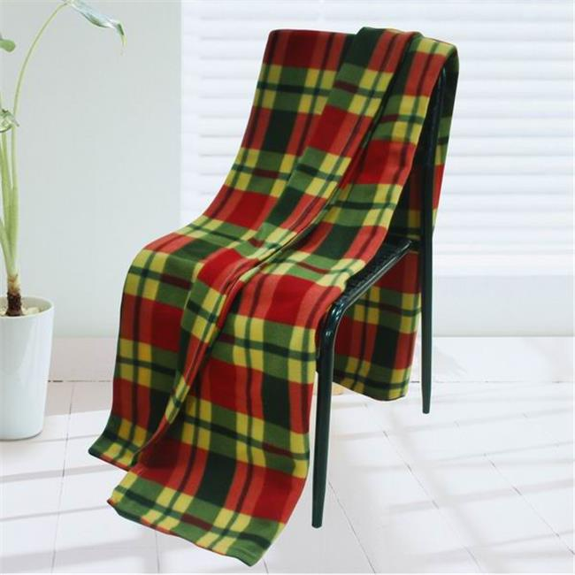 BLK-KRY055-71by79 71 by 79 in. Trendy Plaids - Soft Coral Fleece Throw Blanket - Red  Green & Yellow