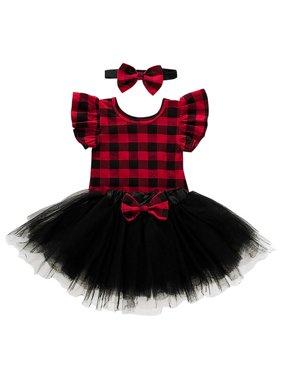 KidLuv 3Pcs Baby Girl Plaid Ruffled Bodysuit Tutu Skirt Headband Sets Outfits