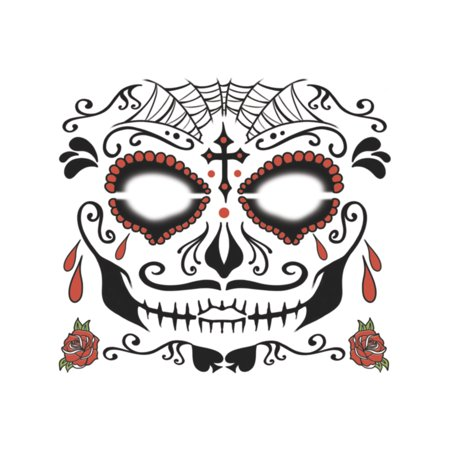 Dia De Los Muertos Sugar Man Face Tattoo Costume Accessory