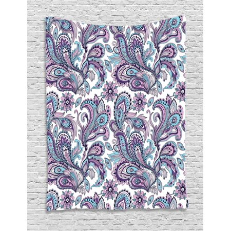 Floral Leaf Hanging Fixture - Paisley Tapestry, Blue and Purple Flowers Leaves Floral Pattern Bohemian Style Country Print, Wall Hanging for Bedroom Living Room Dorm Decor, White Purple Blue, by Ambesonne