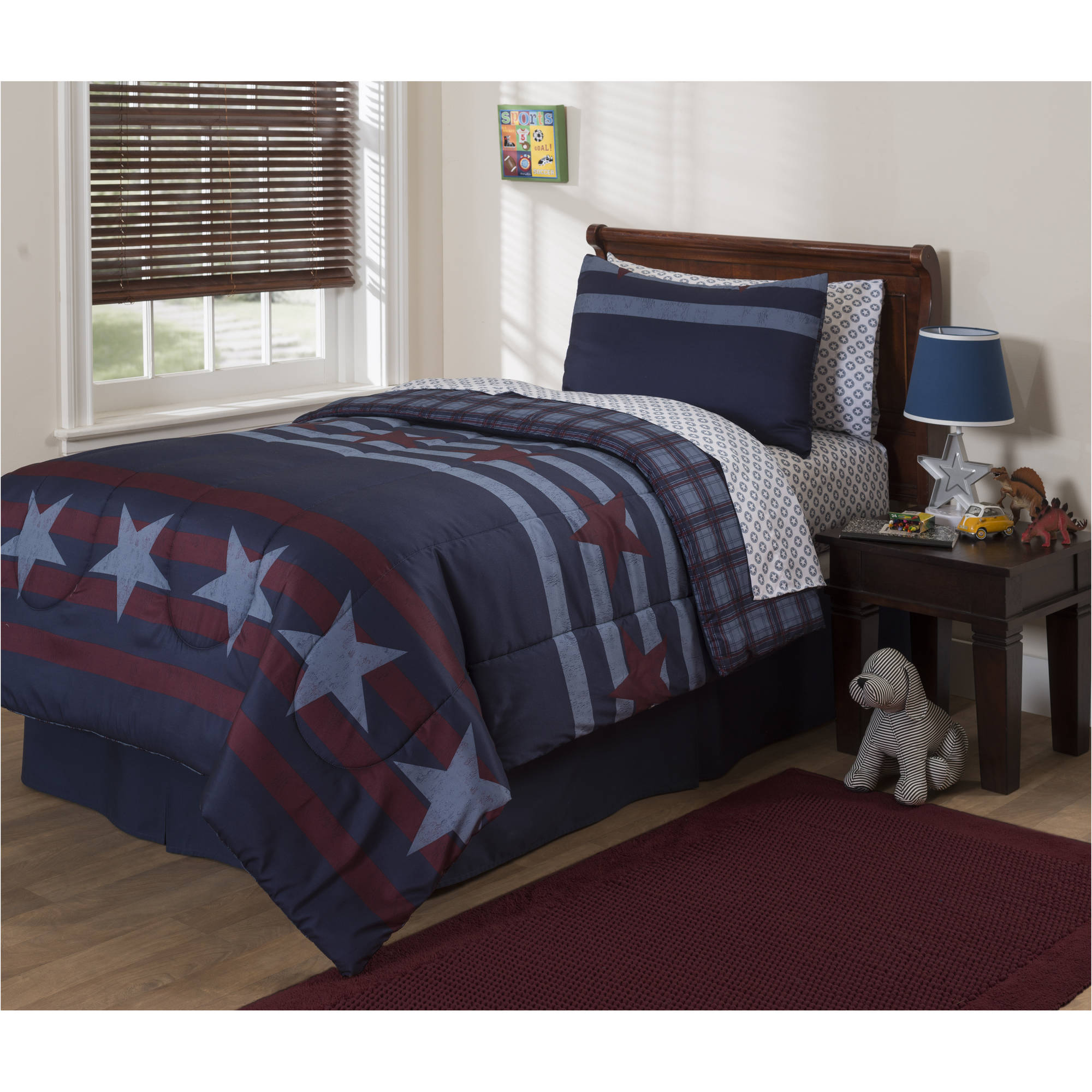 Mainstays Kids Stars And Stripes 5-Piece Bed in a Bag Bedding Set by Idea Nuova