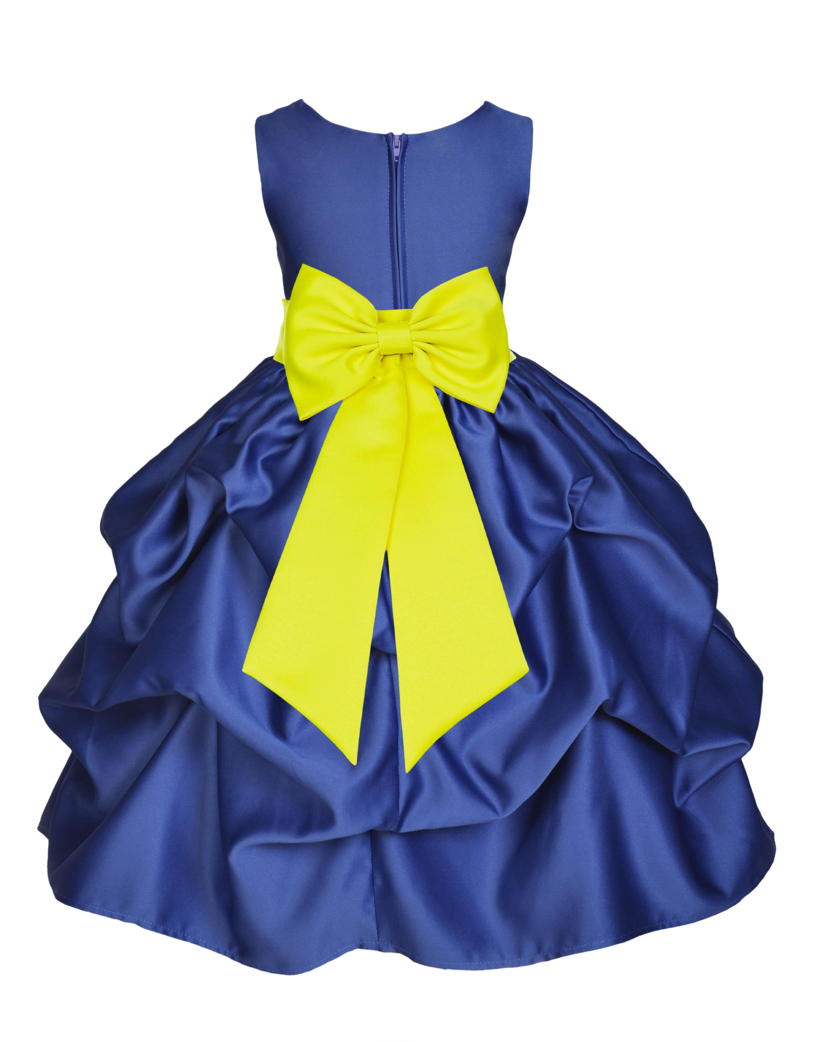 Ekidsbridal Formal Bubble Satin Pick-up Navy Blue Flower Girl Dress Bridesmaid Wedding Pageant Toddler Recital Holiday Communion Birthday Baptism Recpetion Graduation Ceremony Special Occasions 208T