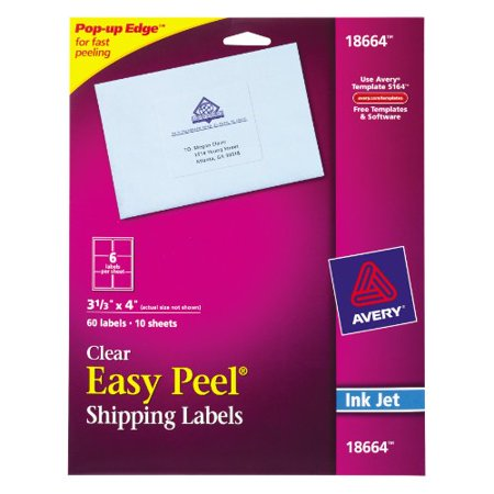 avery easy peel mailing label 3 33 width x 4 length 60 pack